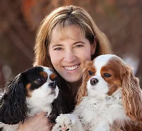 Dr Johanna Frank with two dogs